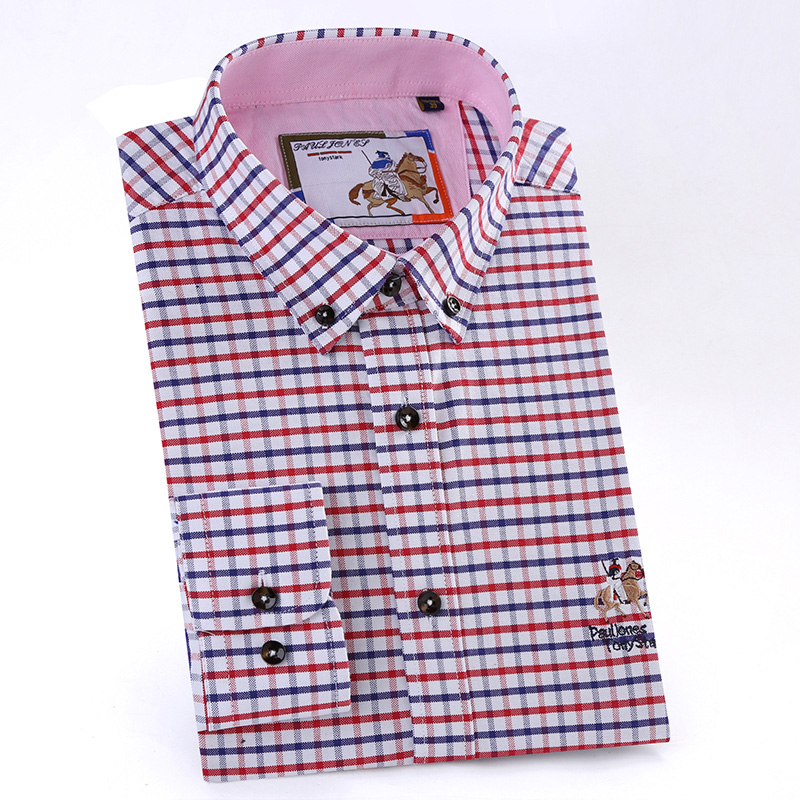 2018 NEW Men Shirts Plaid Long-Sleeve Mens Design Casual High Quality Business Fashion Oxford Slim Fit Solid Dress Shirts M645