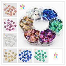 1 box/lot(approx.280pcs) 10mm Round Flatback Rhinestones Sew-on Stones DIY Sewing Crystals 003018028