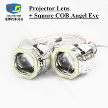 "Buy 2pcs/Lot,2.5"" Mini H1 Projector Lens Square Shroud COB Angel Eye H1 Bulb Socket H1 H4 H7 Xenon Bulb Car Headlight for $43.51 in AliExpress store"