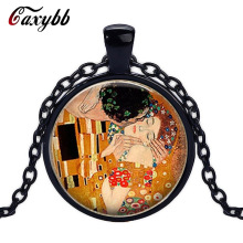 Caxybb Brand Gustav Klimt The Kiss Necklace Klimt Art Jewelry Valentine Gift Romantic Gift Lovers Gift