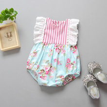 Free Shipping Toddler Girls Children Baby Girls Stripe Floral Ins New One piece Cotton Romper Infant wear Baby Clothes 0-3Y