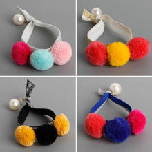 Cute soft plush double balls Girls elastic Rubber bands toddlers Headband kids hair rings rope pony holder headwear Accessory Q4(China)