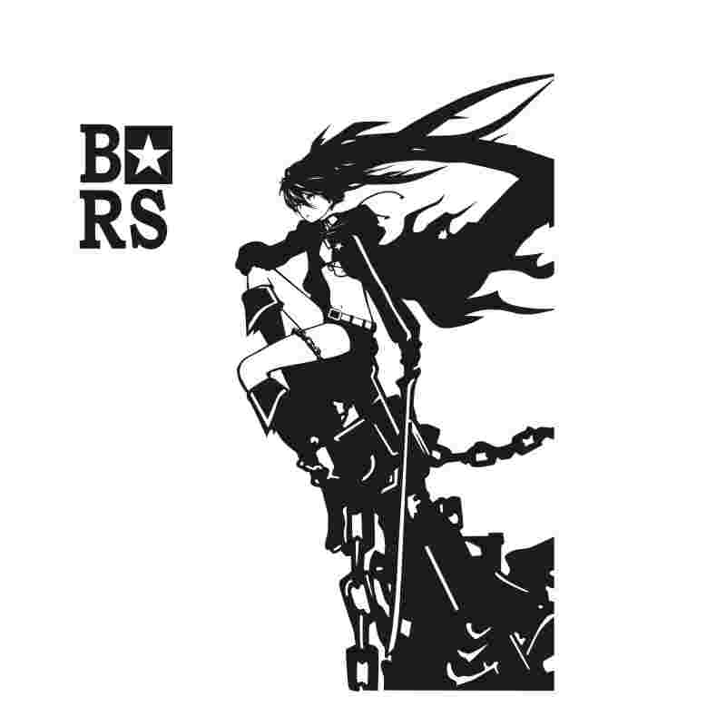 Pegatina BLACK ROCK SHOOTER Sticker Anime Cartoon BRS Car Decal Sticker Vinyl Wall Stickers  Decor Home Decoration