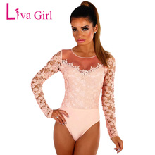 Liva Girl Sexy Lace Bodysuit Women Crochet Mesh Shoulder Long Sleeve Bodysuit Overalls Spring Black Jumpsuit Playsuit Body Femme(China)