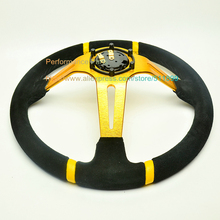 LYJ 350mm Suede Leather Drifting Car Steering Wheel High Quality With Strong Arm Deep Dish Red/Blue/Gold/Orange 14 inch