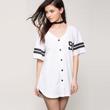 Short Sleeve Button Dress Cotton Baseball 2017 Kimono Fitness White Ball Gown Robe Crossfit Vestidos Mujer Dress Bull 50A050(China)