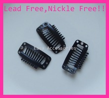 20PCS 3.2cm Black Plain 9teeth comb Metal Extension hair clips for hairpiece clip findings at lead free and nickle free