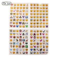 TIE LER Mix 4 Sheets Classic Emoji Stickers 48 Die Cut Sticker for message Vinyl Funny Decorative Wall Sticker(China)