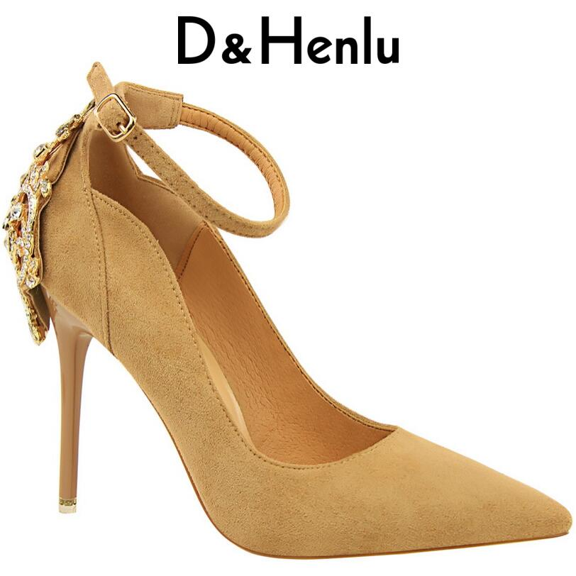 D&amp;Henlu Women Ankle Strap Shoes Woman Heel Shoes With Straps Shoe Pumps Wedding Shoe Black Pumps Strap Color Crystal Tacones<br>