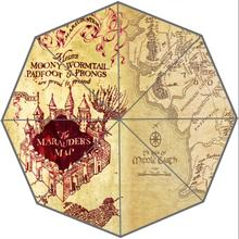 Custom Top Quality Fantastic harry potter map 43.4 inch Automatic 3 Fold Umbrellas Good Gift For Birthday Friend(China)