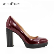 Buy SOPHITINA Brand Patent Leather Platform Ladies Pumps Square Heels High Heels Wine Red Khaki Party Handmade Sexy Shoes Women D04 for $42.96 in AliExpress store