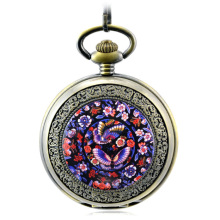 Free shipping top-quality colored drawing butterfly pocket watch ancient mechanical pocket watch hollow woman watch