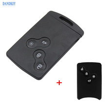 Dandkey Remote 4 Button Smart Card SmartCard Key Case Shell For RENAULT Laguna Koleos With Silicone Cover(China)