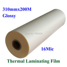 "1 PC Glossy Clear 16Mic 310mmx200M 1"" Core Hot Laminating Films Bopp for Hot Roll Laminator(China)"