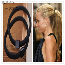 High Quality Summer Style Plastic Elastic Hair Bands Ring Shaped With Beads Ponytail Holders Hair Accessories For Kids Women