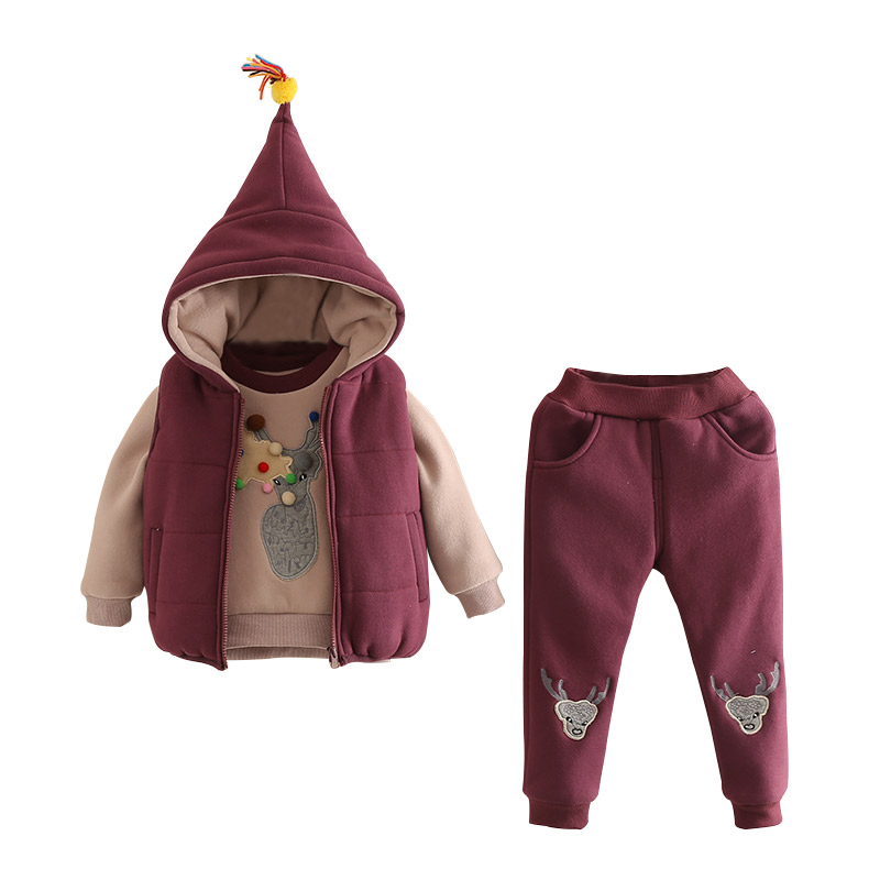 2018 New Boys Girls Baby Children Clothes Winter Three Piece Children Sweater Suit Coat Thick Hooded Winter Warm Embroidery<br>