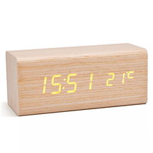 Alarm Clock Sound Control LED USB Solid Wood Desk Clocks Digital Tempreture Display Orange Light LED Alarm Clock Orange Clock