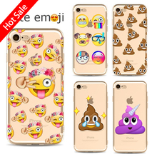 FEIHOO ELE Painted Transparent TPU Phone Cases For Iphone 7plus 6s 6plus 5s Cute Emoji Series Soft Phone Bag Case