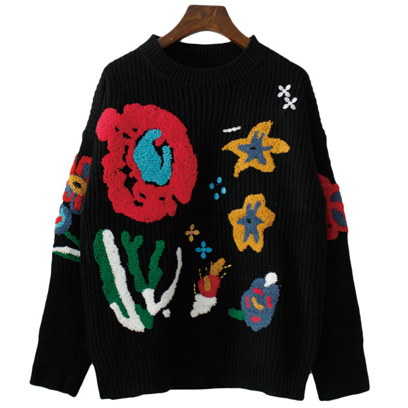 2018 Autumn Winter New Fashion Embroidery Intarsia Knitting Sweaters women's jackets female coarse wool pullovers jumpers