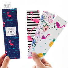 Fashion 30PCs/Box Colorful Flamingo Paper Bookmark Card DIY Book Marks Message Cards Cute Stationery Office and School Supplies