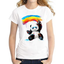 2016 Women Giant Painter T-Shirt Short Sleeve Casual Tops Novelty Panda Rainbow Printed T Shirts Fashion Tee