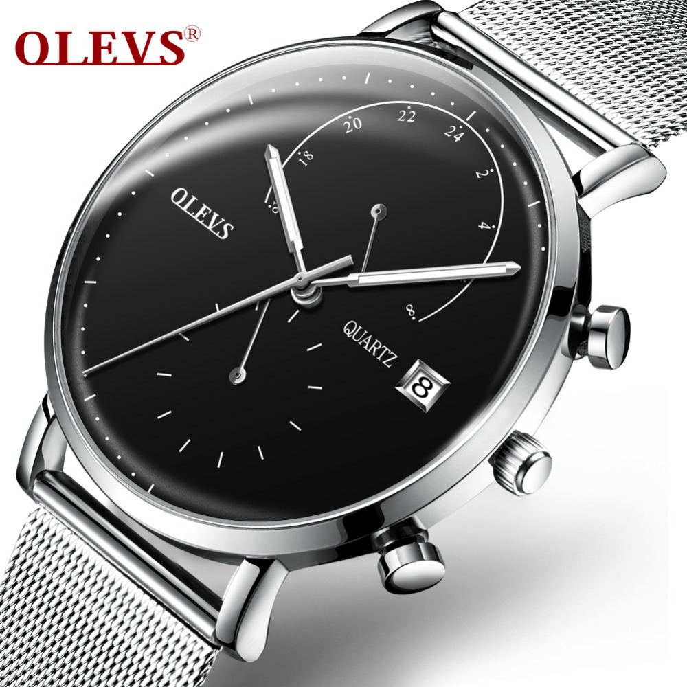 Mens Watches OLEVS Fashion Sports quartz-watch Stainless Steel Brand Men Watches Milanese steel strap Multi-function Wristwatch<br>
