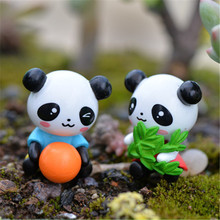 4Pcs/Set Kawaii Bear Winnie BeiBei Panda Doll DIY Resin Crafts Anime Cartoon Figurines Fairy Garden Miniature Home Decor