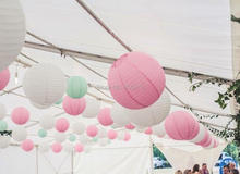 18-Pack White Pastel Pink Mint Green Round Paper Lantern Lamp Shades for Wedding Birthday Baby Girl Shower Party Decoration(China)