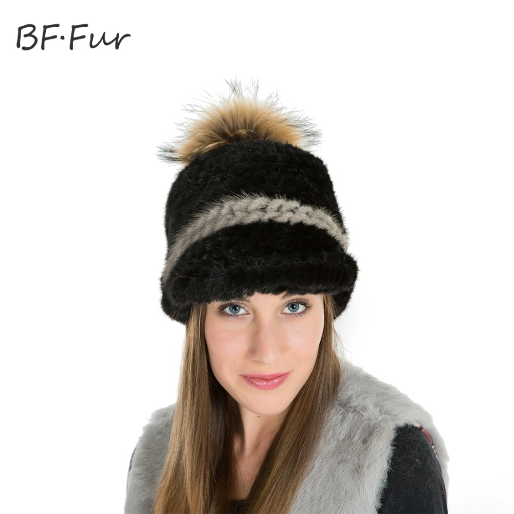 BFFUR Knitted Mink Fur Cap New Women Hat Winter Fur Hat 2 Colors Knitting Mink Fur Thick Beanies Cap High Quality BF-M0015Îäåæäà è àêñåññóàðû<br><br>