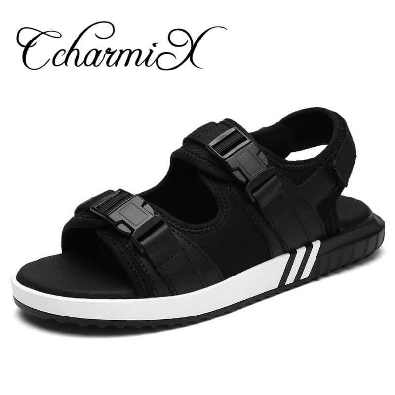 Large Size Sandals Women Genuine Leather Black Outdoor Air Shoes Lovers Fashion Casual Slippers Summer Beach Walking Sandals<br>