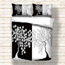 Black White tree pattern print bed linen set Twin Full Queen King Sizes Duvet cover set for comforter new 3pcs bedding set(China)