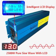 Digital Display PURE SINE WAVE POWER INVERTER 2500W/5000W MAX DC 12V To AC 220V CAMPING BOAT SINEWAVE(China)