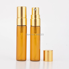 100Pieces/Lot 5ML Portable Amber Glass Perfume Bottles Atomizer Portable Empty Cosmetic Containers With Aluminium Pump