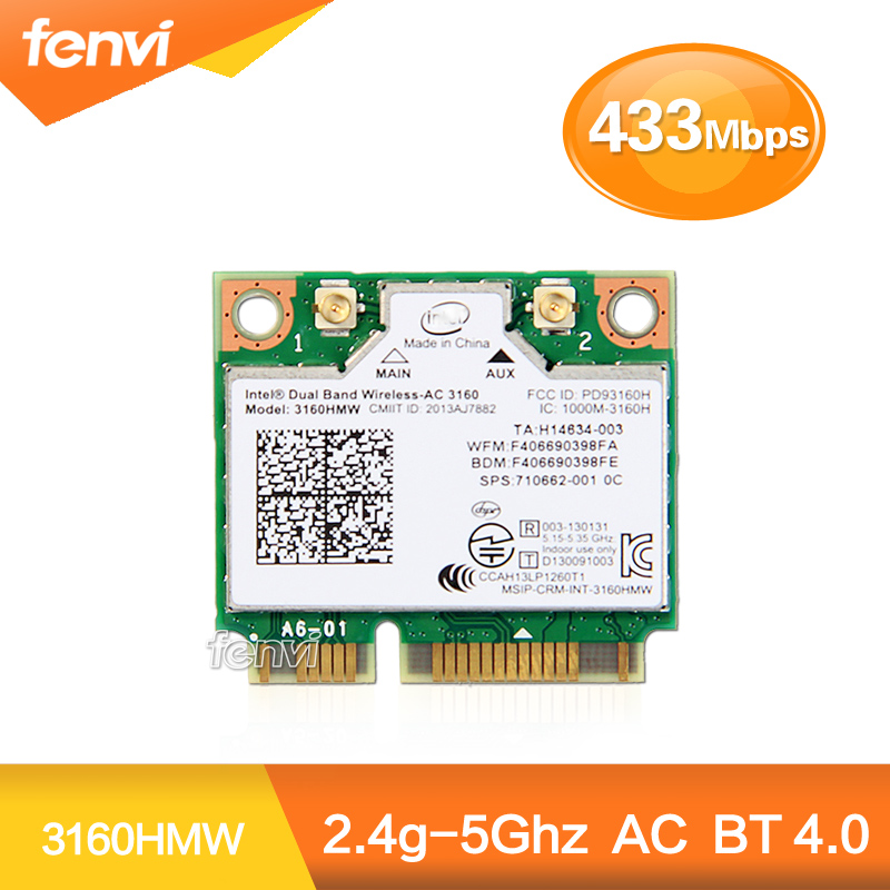 Dual Band Wireless-AC 3160 3160HMW half Mini PCI-e bluetooth Wireless wifi card WI-FI 802.11 ac+Bluetooth 4.0 up to 433 Mbps(China (Mainland))