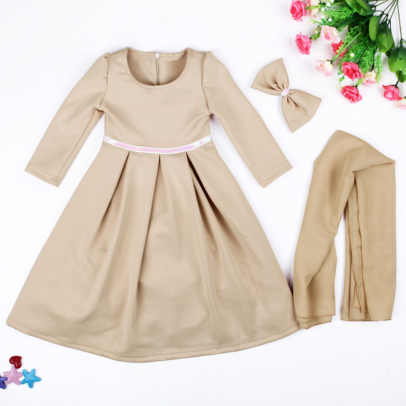 Kids Girls Muslim Islamic Nation Dress Long Dress+Kerchief+Bowknot 3 piece Solid Childrens Clothing Costume 2017 New Arrive<br><br>Aliexpress