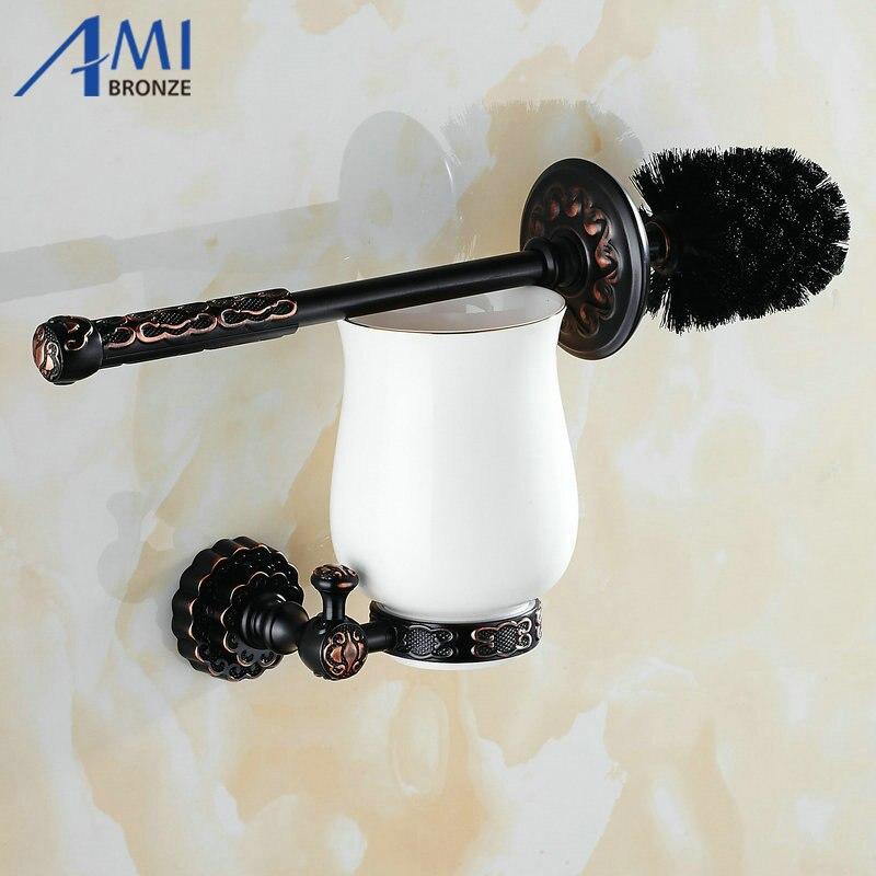 Twin Flowers Series Carving Black Brass Toilet Brush Holders Bathroom Accessories Cup Holder Toilet Vanity<br><br>Aliexpress