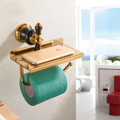 Free Shipping Gold/Rose Gold+Brown jade Paper Holder/Roll Holder Brass Construction Bathroom Accessories High Quality<br>