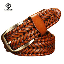 [KAITESICZI]2016 New Belt Man Fashion Mens belts luxury genuine leather braided Real Cow skin straps men Jeans Wide girdle Male(China)
