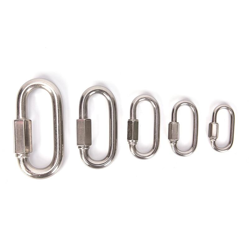 304 Stainless Steel Spring Carabiner Snap Hook Keychain Quick Link Lock BucklFEH