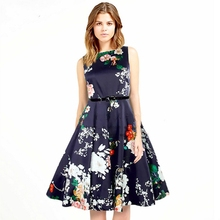 2017 Summer Women Midi Dress Floral Blue Ladies Party Day Dresses Sleeveless O-Neck High Quality Casual Brief Style Pleated
