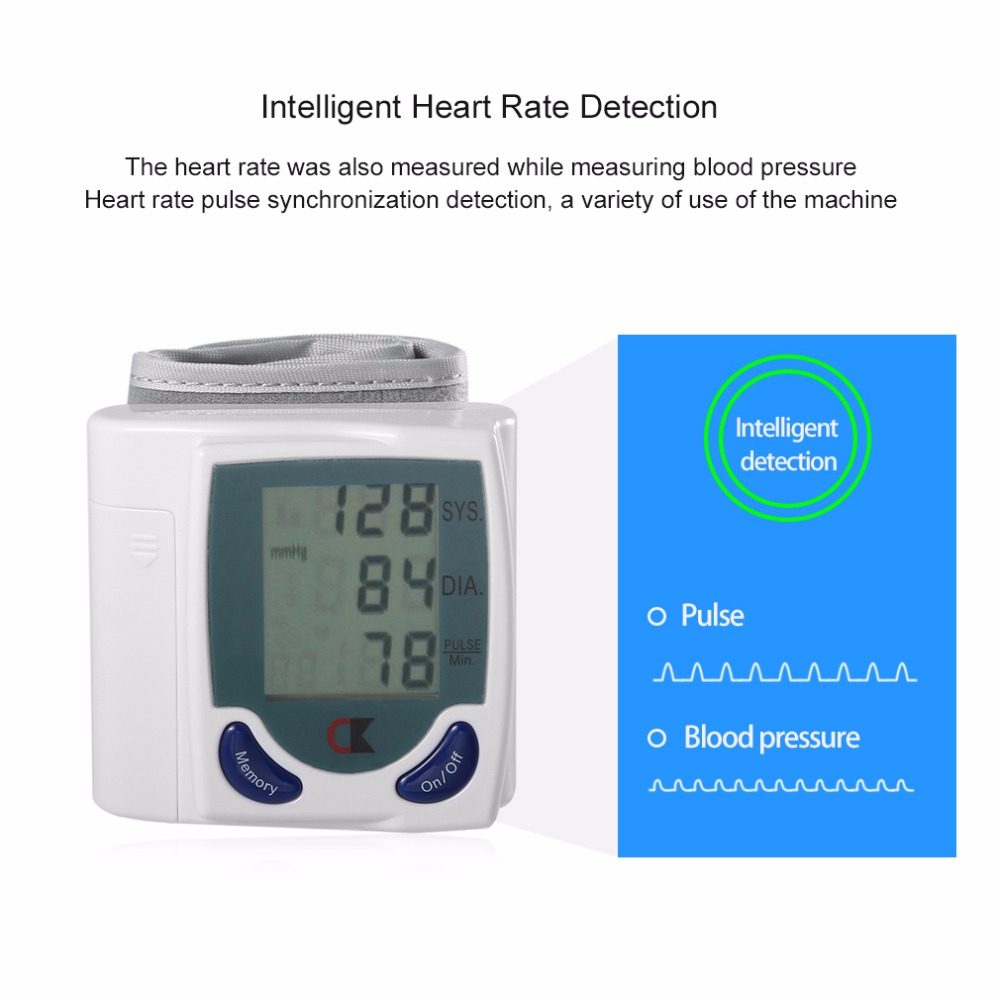 LCD Cuff Arm Wrist Blood Pressure Monitor Meter Household Health Care Healthy Heart Beat Rate Pulse Measure Machine Best Selling 6