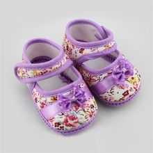 2017 New Hot Baby Girls Flowers Print Bow Toddler Shoes Children Footwear First Walkers