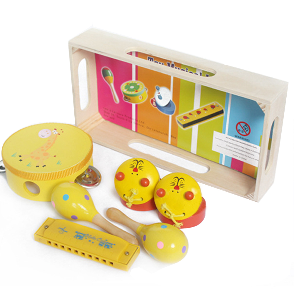 Wooden Harmonica Tambourines Maracas Castanets Musical Percussion Instruments Band Rhythm Toy Gift Set For Baby Kid Children(China)