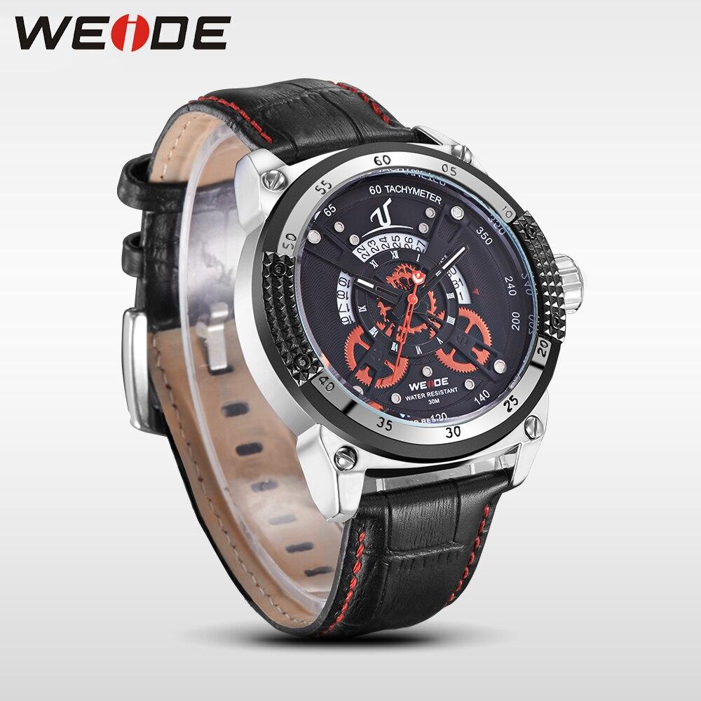 WEIDE  luxury brand leather quartz sports wrist watch casual genuine men water resistant mehanical hand wind analog saat relojes<br>