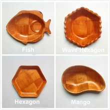 Natural wood plates tray Kitchen dinnerware Fish Apple Hexagon plum shape handmade woven Wood Dish plates fruit tray salad bowl(China)