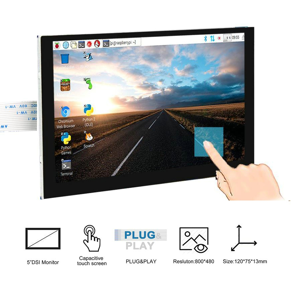 """New 5/"""" TFT LCD Display Touch Screen DSI Connector 800x480 For Raspberry Pi"""