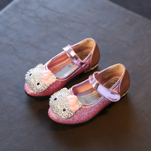 J Ghee New Hello Kitty Girls Shoes Kids Princess Sweet Shiny Bright Rhinestone Single Shoes Girl Children Loafers Girls Sneakers