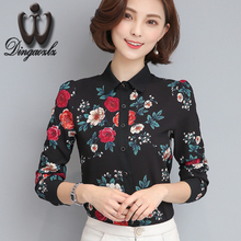 Buy women clothing casual lady long sleeve chiffon office shirt spring new printed Slim fashion women tops elegant chiffon blouse for $13.66 in AliExpress store