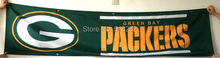 Green Bay Packers Banner 2x8FT 60x240CM NFL Flag 100D Polyester grommets Custom6038,free shipping