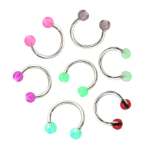 Fashion 20pcs Colorful Stainless Steel Ball Barbell Curved Nose Studs Rings Bars Piercing  Cosmetic (Color: Multicolor)
